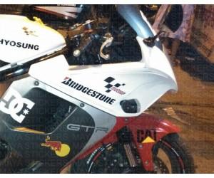 Bridgestone logo sticker on Hyosung GT250R