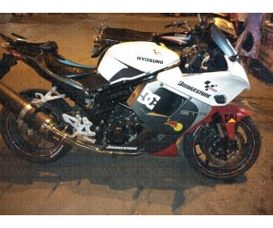 DC logo stickering on Hyosung GT250R