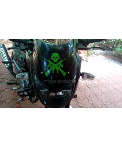 Skull and Gun sticker on Bajaj Pulsar 150 bike dome