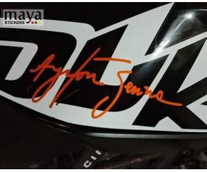 Ayrton senna signature sticker on KTM duke tank