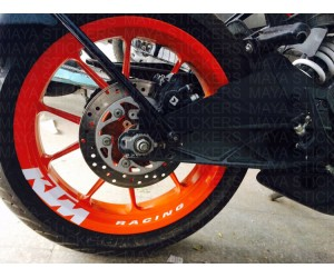 KTM racing sticker applied on wheel rim of KTM Duke 250