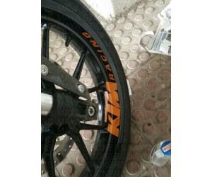 KTM racing logo sticker applied on wheel rim