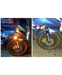 Ecstar logo sticker on gixxer sf suspension