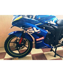 MRF logo sticker on suzuki gixxer fork