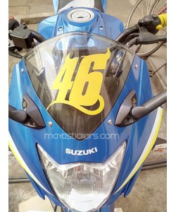 46 number sticker on Gixxer sf windshield