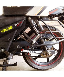 Bridgestone logo stickers for TVS apache RTR swing arm