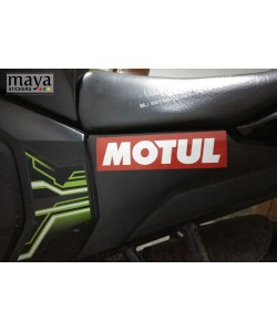 Motul logo sticker on Yamaha FZ V2 side panels