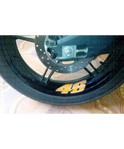 46 Number valentino rossi sticker on wheel rim of yamaha r15
