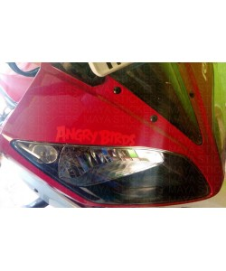 Angry birds sticker on yamaha r15 headlight