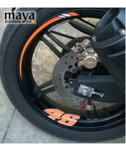 Yamaha r15 wheel rim stripes and vr 46 logo on rear wheel
