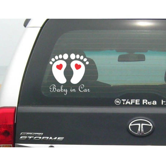 Baby in car unique foot print with heart sticker decal for cars large size