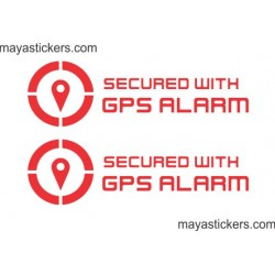 Secured with GPS alarm sticker / decal for car safety and security (Pair of 2 warning stickers )