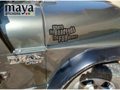 Where the road ends fun begins offroad sticker on Mahindra thar bonnet sides