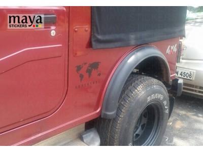World Map adventure sticker on Mahindra thar  red