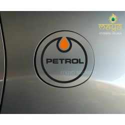 'Petrol' creative drop shaped fuel tank lid sticker for Cars.