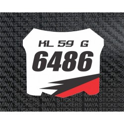 Motocross Racing style number plate stickers for Bikes