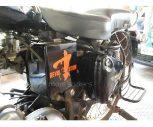 Bhagat singh revolution sticker on royal enfield battery box