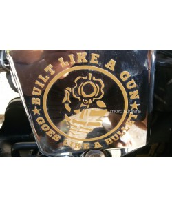 Built like a gun custom design sticker on Royal Enfield electra  side cover