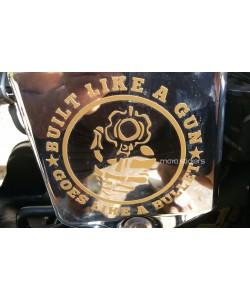 Built like a gun custom design sticker on Royal Enfield electra  side cover