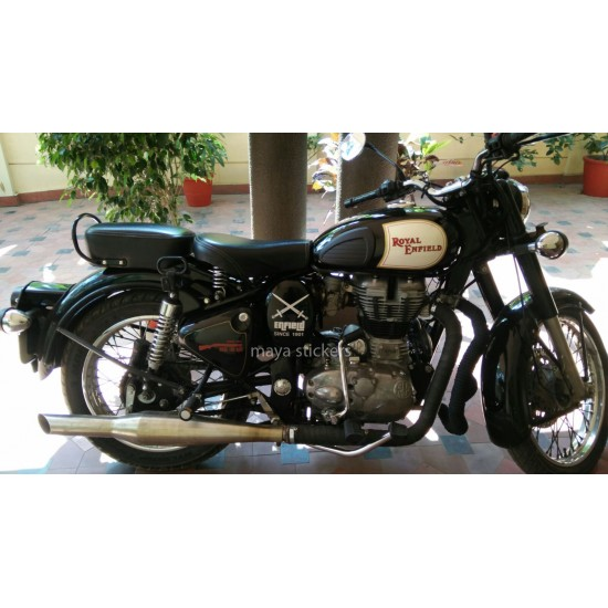 Custom designed crossed swords vinyl sticker decal for royal enfield bullet