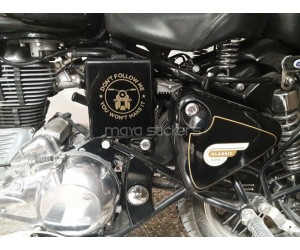Dont follow me stickering on royal enfield classic side box