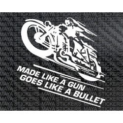 Made like a Gun, Goes like a Bullet retro racer stickers for Royal Enfield