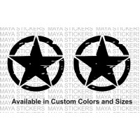 Star sticker in Distressed style with scratches design - Pair of 2 Stickers