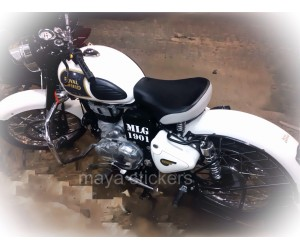 MLG 1901 Sticker on Royal Enfield classic Ash white battery side  box