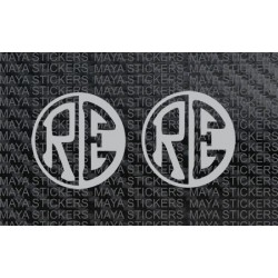 RE emblem logo in Negative - positive style. Pair of 2 Stickers