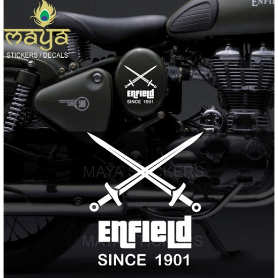 Custom Crossed Sword Sticker For Royal Enfield Bullet