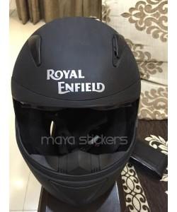 Royal Enfield logo sticker on helmet