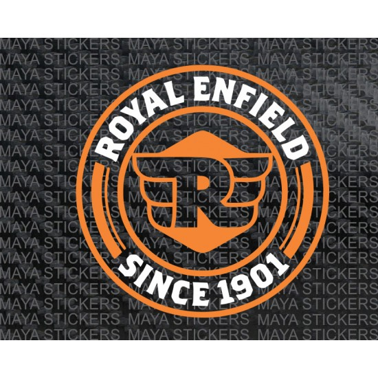 Royal enfield since 1901 logo sticker in dual color