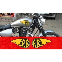 RE with wings fuel tank sticker for Royal Enfield bikes. Custom colors available (pair of 2)