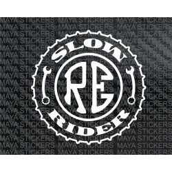 Slow rider royal enfield custom stickers.