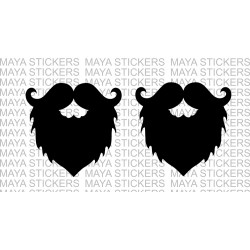 Beard and mustache classy sticker / decal for cars, bikes, laptop - Pair of 2