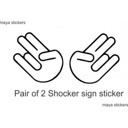 Shocker hand sign sticker / decal for cars, bikes and laptop. Pair of 2. Custom colors available.