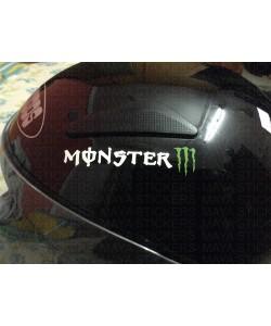 Monster logo sticker on helmets