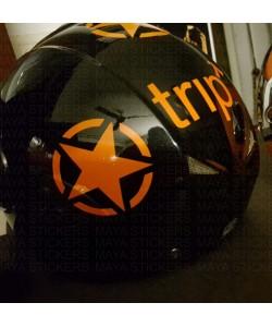 Orange star sticker on helmet