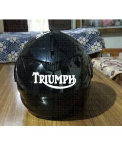 Triumph logo stickers on helmet