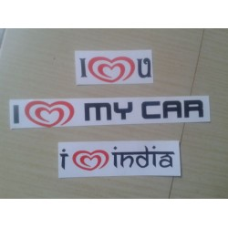 Set of 3 stickers - I love my car, I love India, I love you