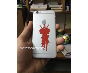 Dead pool sticker on iphone