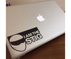 I am the stig sticker on apple macbook pro