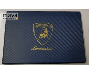 Lamborghini logo sticker on laptop