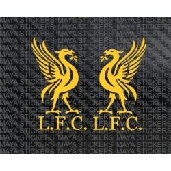 Liverpool FC. Pair of 2 LFC flipped logo stickers / decals