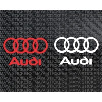 Audi full logo stickers / decals for cars, bikes & laptops (Pair of 2 )