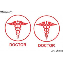 Doctor circular logo in aesthetic design for Cars, Bike and wall. Pair of 2 stickers