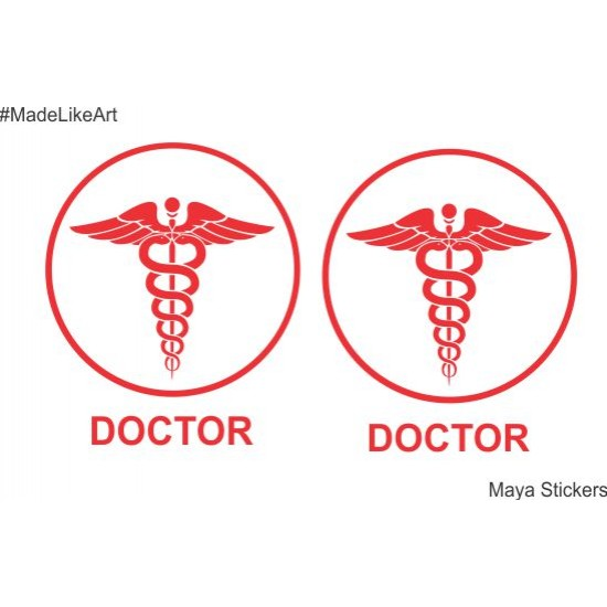 Doctor circular logo in aesthetic design for cars bike and wall pair of 2 stickers