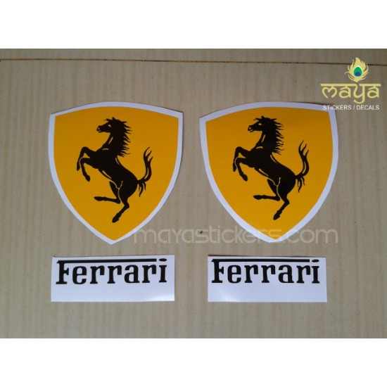 Ferrari logo stickers for bikes and car pair of 2 premium die cut stickers