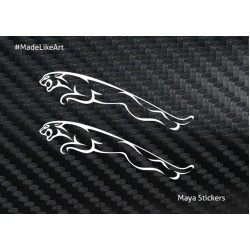 Jaguar logo sticker / decal for bikes, cars, laptop.  ( Pair of 2 flipped stickers )