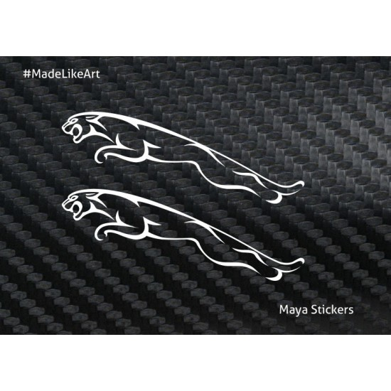 Pair Of 2 Jaguar Logo Sticker Made From High Quality Material